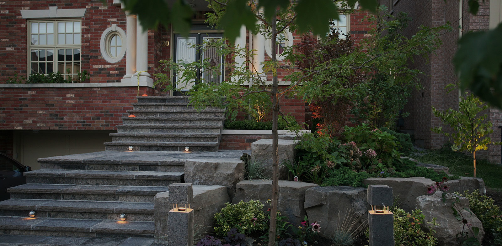 landscaping rocks and stairs
